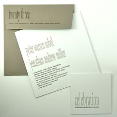 Invitation & reception are white laminated to taupe multi stripe  Taupe envelope-light & dark taupe ink