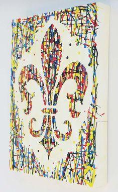 Beautiful fleur de lis original contemporary painting by artist Linda Paul. ready to hang framed original art painting Jackson Pollock, Art Chinois, Louisiana Art, Saints, Collaborative Art, Oui Oui, Photoshop, Pictures To Paint, Painting Frames