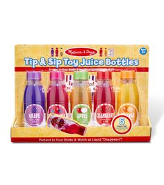 Melissa & Doug Tip & Sip Toy Juice Bottles (Play Food Set, 6 Pieces, Great Gift for Girls and Boys - Best for and 5 Year Olds) Kids Play Food, Pretend Food, Little Girl Toys, Toys For Girls, Toddler Toys, Kids Toys, Wooden Play Food, Baby Doll Accessories, Glee
