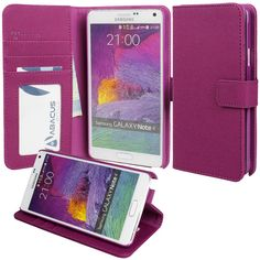 Note 4 Case, Abacus24-7 Galaxy Note 4 Wallet Case [Book Fold] Leather Note 4 Cover [Flip Cover] with Foldable Stand, Pockets for ID, Credit Cards - Purple Flip Case for Samsung Note 4