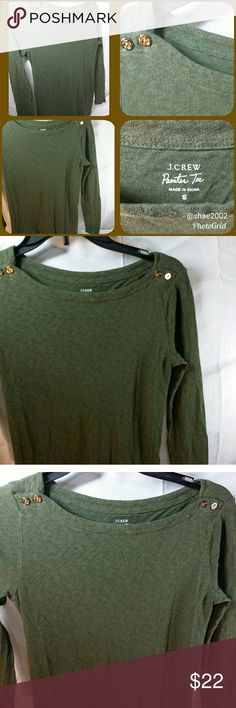 J. CREW Perfect tee Scoop neck, long sleeve, cute buttons, like new, never worn. Very comfy and stylish. J. Crew Tops Tees - Long Sleeve