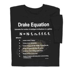 Drake Equation T-shirt asks Is anyone out there?