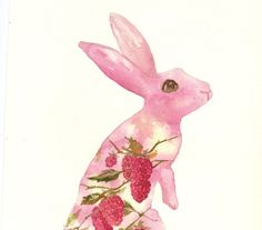 BUNNY  Art  Raspberry Cane Bunny  Watercolor by eastwitching