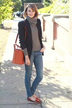 blazer + turtleneck sweater