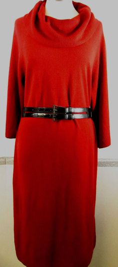 Lane Bryant Sweater Dress 18/20 Deep Red Cowl Neckline Acrylic Knee Length Styli #LaneBryant #SweaterDress #Casual