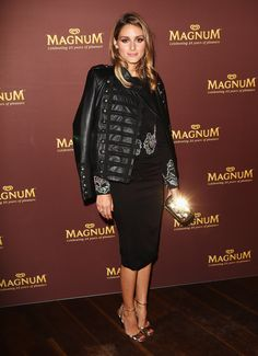 Olivia Palermo: Magnum 25th Anniversary Celebration, Boda leather jacket, Rachel Gilbert dress and Jimmy Choo heels