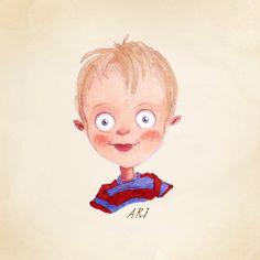 Custom, hand drawn, Children's Portrait. Wonderful Christmas gift. Print included.