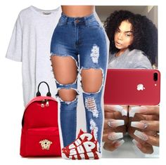 """""""red and white contest"""" by danny-baby-xoxo ❤ liked on Polyvore featuring Yeezy by Kanye West and Versace"""