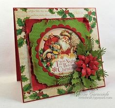 "Graphic 45 'twas the night before Christmas 8 x 8"" pad of paper. Christmas card by KittieKraft"