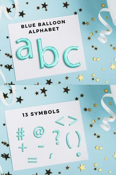 Foil Balloons, Alphabet, Light Blue, Clip Art, Symbols, Letters, Silver, Gold, Alpha Bet