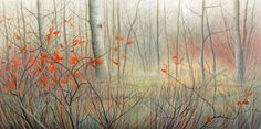 Debbie Wozniak-Bonk - Last Leaves to Fall acrylic/canvas Acrylic Canvas, Landscapes, Leaves, Rustic, Gallery, Fall, Artist, Painting, Paisajes
