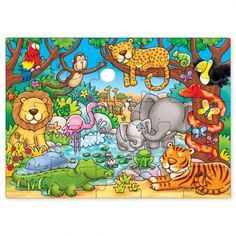 The Orchard Toys Who'S In The Jungle? is a colourful jigsaw features a busy jungle scene with lots of wild animals to spot, including tigers, lions, elephants, monkeys and crocodiles. Safari Crafts, Orchard Toys, Jungle Scene, Educational Games For Kids, Jungle Safari, Toys Online, Fun Learning, Baby Gifts, Jigsaw Puzzles