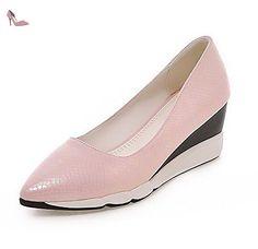 VogueZone009 Femme Pointu à Talon Correct Matière Souple Couleur Unie Tire Chaussures Légeres, Rose, 41 - Chaussures voguezone009 (*Partner-Link)