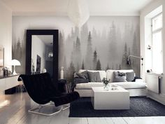 Misty forest black and white wall mural
