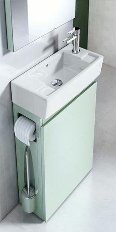 Décoration des Toilettes & WC : 101 Astuces pour les Réveiller ! Bathroom Sink Design, Small Bathroom Sinks, Small Bathroom Storage, Tiny House Bathroom, Large Bathrooms, Bathroom Interior Design, Bathroom Vanities, Bathroom Ideas, Natural Bathroom