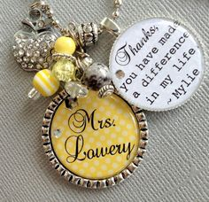 Personalized teacher gift - teacher appreciation, You have made a difference Keychain OR Necklace -rhinestone apple, daycare, babysitter. $23.50, via Etsy.