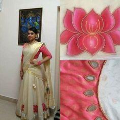 Kerala Wedding Saree, Kerala Saree, Wedding Silk Saree, Half Saree Designs, Lehenga Designs, Saree Blouse Designs, Set Saree, Half Saree Lehenga, Sarees