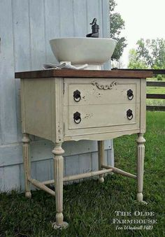 Sewing chest turned bathroom vanity- beautiful!