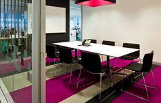 Office inspiration, pink, magenta, silver birch , charcoal, design, interior design , tretford carpet Office Space Design, Workplace Design, Ford, Commercial Design, Magenta, Interior Architecture, Lounge, Rugs, Table