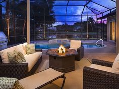 Backyard Oasis - Fire pit and pool.  Renovated Home for Sale in Gables Pelican Marsh, Naples, Florida
