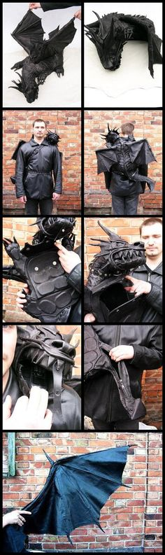 Funny pictures about Dragon Bag. Oh, and cool pics about Dragon Bag. Also, Dragon Bag. Dragon Backpack, The Meta Picture, Cool Dragons, Costume Halloween, Larp, Color Negra, Look Cool, Cosplay Costumes, Cool Stuff