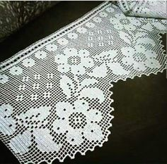 Romantic white filet crochet table doily or runner, rustic or cottage chic style, afternoontea wedding decor, garden tea party Thread Crochet, Crochet Trim, Love Crochet, Filet Crochet, Crochet Lace, Crochet Stitches, Crochet Curtain Pattern, Crochet Curtains, Crochet Doilies