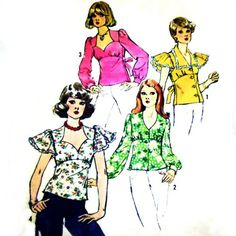 Blouses Tops Sweetheart Neckline 1970s Pattern.  Flutter Sleeves.  #sewinghappyplace on ArtFire