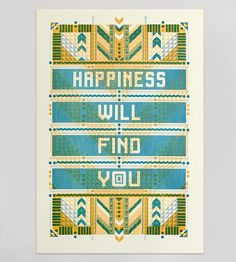 Happiness Letterpress Print