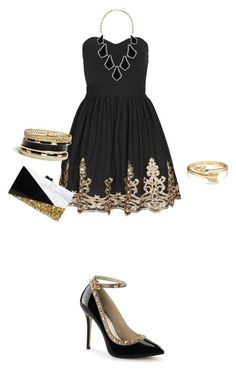 """""""Untitled 7"""" by vidiarocks ❤ liked on Polyvore featuring TFNC, GUESS, Edie Parker, Bling Jewelry and Kendra Scott"""