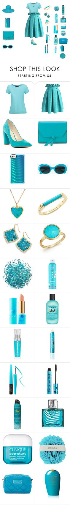 """Dazzling aquipting"" by sierracook14 ❤ liked on Polyvore featuring Magaschoni, Chicwish, Jessica Simpson, Alexandra de Curtis, Casetify, Yves Saint Laurent, Kate Spade, Kendra Scott, Marco Bicego and COOLA Suncare"