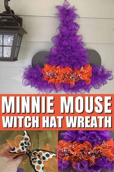 Minnie Witch Hat Wreath DIY: Affordable and Easy - Sand and Snow Halloween Garland, Halloween Snacks, Disney Halloween, Easy Halloween, Disney World Vacation Planning, Disney Travel, Disney Fun, Walt Disney, Disney Diy Crafts