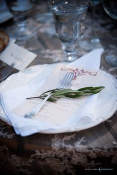 http://www.scottcampbellphoto.com www.fionnafloral.com Simple sweet place setting for kings table's