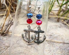 Red and Blue Crystal Anchor Earrings