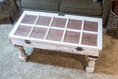 Repurposed Items! Salvaged Window DIY Coffee Table | http://diyready.com/salvaged-window-diy-coffee-table-unique-coffee-tables/