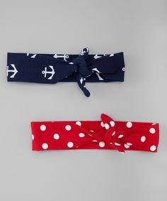 Look at this #zulilyfind! Navy Anchor & Red Dot Knot Headband Set by Bubbly Bows #zulilyfinds