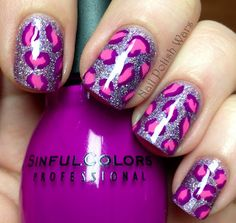 Wildly cool pink and purple leopard print nails