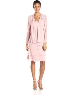 S.L. Fashions Women's Embellished Tiered Dress with Jacket