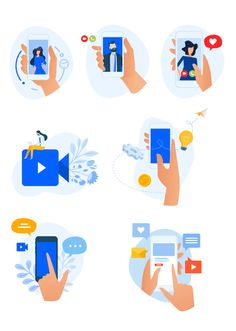 Digital Communication Vector Illustration Icon Collection, Digital Nomad, Flat Design, Vector Graphics, Mobile App, Communication, Concept, Templates, Illustration