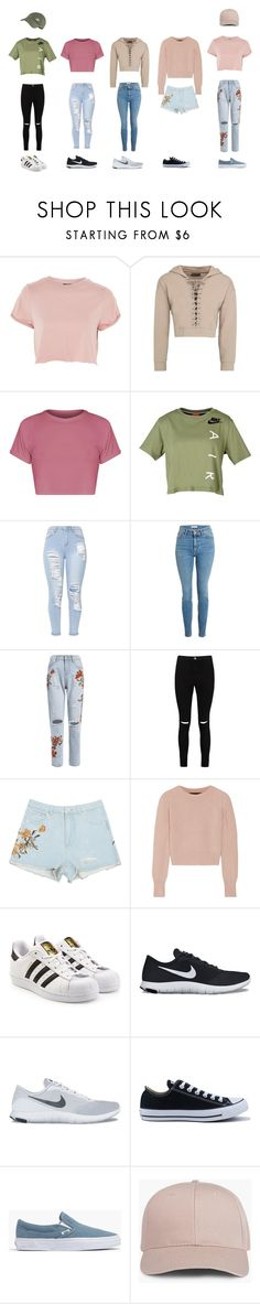 """Casual"" by kxjae on Polyvore featuring Topshop, BasicGrey, NIKE, Boohoo, The Elder Statesman, adidas Originals, Converse and Madewell"