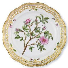 Flora Danica (Royal Copenhagen) | My most favorite China by Royal Copenhagen. Every piece is a different flower; beautiful gold borders!