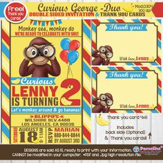 PRINTABLE DUO- Curious George invitation AND Thank you cards! Any occasion, Any wording!