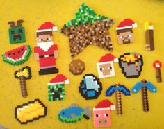 minecraft ornaments lava bucket Steve Santa torch watermelon perler beads fuse beads