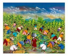 Quadro raffigurante un tipico momento del taglio e raccolta della canna da zucchero fatti maualmente così come ancora avviene nelle isole caraibiche. Tecnica acrilico su tela. Già montato su telaio in legno. Dimensioni 60 x 50 (approssimaz. 1-2 cm)  http://www.solohechoamano.it/store/quadri/quadri-caraibi-rep-dominicana-haiti/quadro-canna-da-zucchero114.html