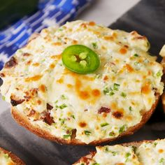 Sure, a toasted bagel with cream cheese is great. But a bagel topped with loaded Jalapeño Popper cream cheese and baked? Get the recipe at Jalapeno Poppers, Bagels, Subway Sandwich, Snacks Für Party, Clean Eating Snacks, Appetizer Recipes, Bacon Appetizers, Recipes Dinner, Food Videos