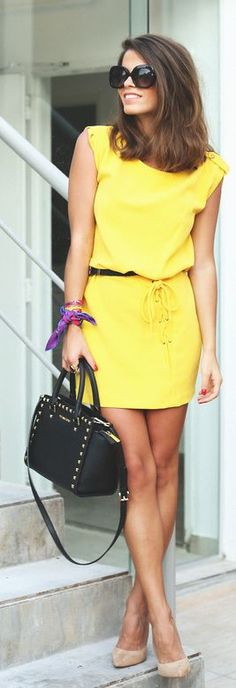 Lace Detail Yellow Dress by Seams For a Desire