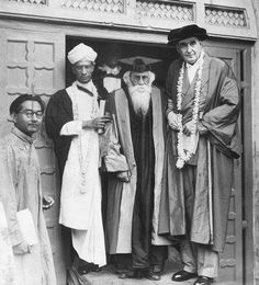 Rabindranath Tagore With Sir Maurice Gwyer and Dr. S. Radhakrishnan at Sinha Sadan after the Oxford University Convocation on 7 August 1940