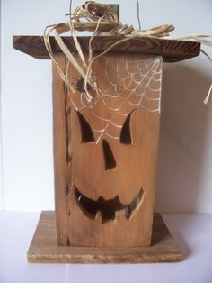Halloween, Jack O Lantern, Tea Light, Salvaged, Wood, Rustic, Lantern, Lighted…