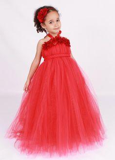 Flower Girl Tutu Dress - Red - Blazing Beauty - 3-4 Toddler Girl - Cutie Patootie Designz