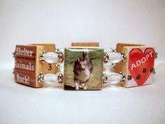 PET RESCUE Bracelet / Adoption / Scrabble Jewelry / Upcycled. $18.00, via Etsy.