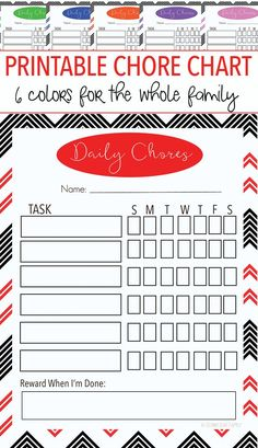 Get organized and take care of everyday chores with this FREE printable family chore chart! Includes 6 colors so you can color coordinate for each person. Great for kids or to put in your own daily organizer or planner!